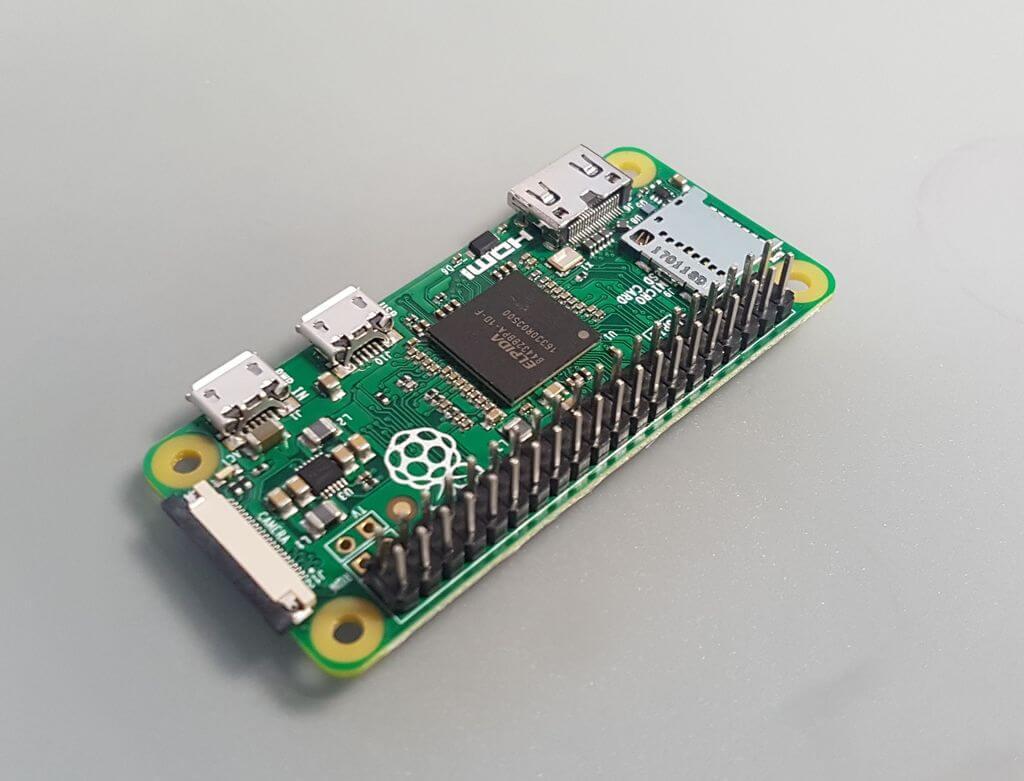 Raspberry Pi Zero with soldered header